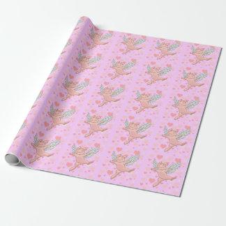 Papel De Presente Porco do vôo & corações cor-de-rosa