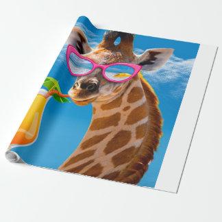 Papel De Presente Praia do girafa - girafa engraçado
