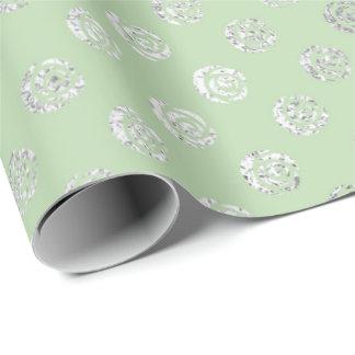 Papel De Presente Prata floral Glam Vip do verde da hortelã dos