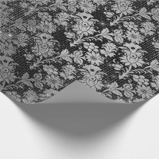 Papel De Presente Prata floral preta Sparkly VIP da mistura urbana