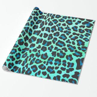 Papel De Presente Preto do leopardo e impressão da cerceta