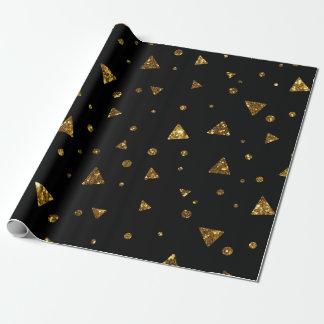 Papel De Presente Preto dourado geométrico Vip Glam do brilho dos