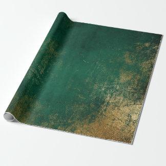 Papel De Presente Profundo esmeralda afligido do ouro - tropical