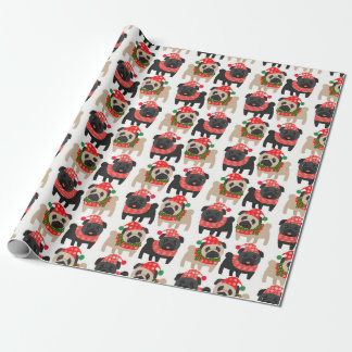 Papel De Presente Pugs adoráveis do Natal do preto e da jovem corça