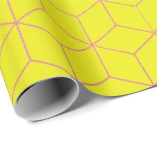 Papel De Presente Quadrado 3D da geometria do limão do amarelo do