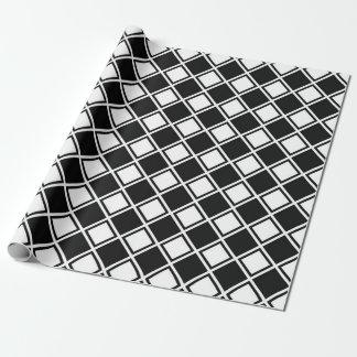 Papel De Presente Quadrados preto e branco do diamante