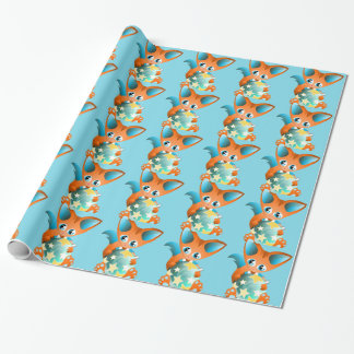 Papel De Presente raposa bonito azul verde do Natal - papel de