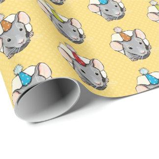 Papel De Presente Rato do aniversário no queijo das bolinhas
