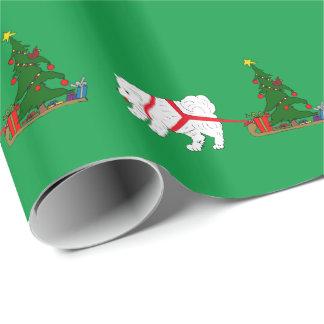 Papel De Presente Reboque o Samoyed que puxa a árvore de Natal