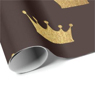 Papel De Presente Rei de bronze real dourado Coroa Heráldico