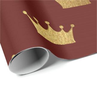 Papel De Presente Rei marrom vermelho real Coroa Heráldico princesa