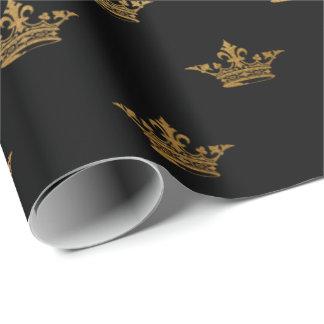 Papel De Presente Rei preto real Coroa Heráldico princesa do ouro
