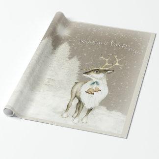 Papel De Presente Rena rústica adorável no inverno