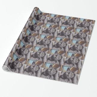 Papel De Presente Retrato cinzento do animal de estimação do gato