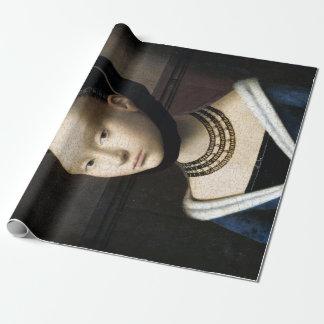 Papel De Presente Retrato de Petrus Christus de uma jovem mulher