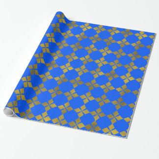 Papel De Presente Rolo azul do papel do teste padrão de flor da