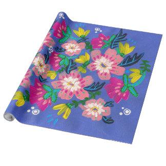 Papel De Presente Rolo de linho de papel de envolvimento das flores
