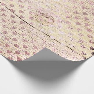 Papel De Presente Rosa cor-de-rosa de madeira do ouro gasto metálico