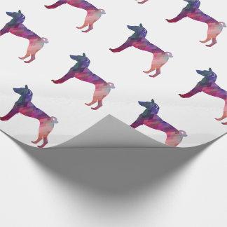 Papel De Presente Rosa da silhueta do teste padrão de Geo do cão de