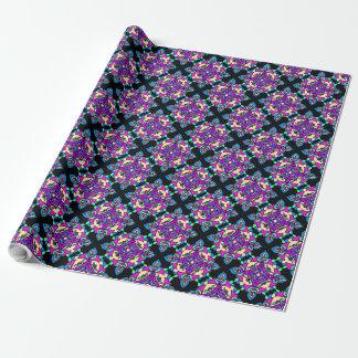 Papel De Presente Rosa de Diwali Giftwrap, azul, teste padrão preto