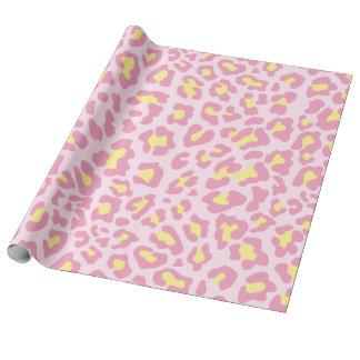 Papel De Presente Rosa e amarelo do impressão do leopardo