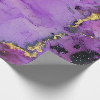 Papel De Presente Rosa preto roxo Amethyst urbano da pintura líquida