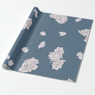 Papel De Presente Rosas azuis e brancos