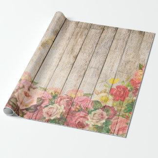Papel De Presente Rosas românticos rústicos do vintage de madeira