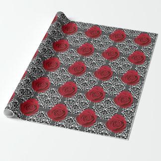 Papel De Presente Rosas vermelhas & de damascos de B/W rolo do papel