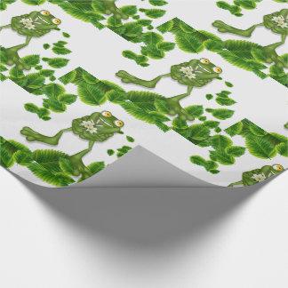 Papel De Presente Sapo verde bonito dos desenhos animados com um