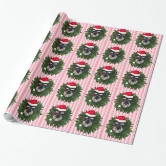 Papel De Presente Schnauzer do Natal