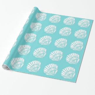 Papel De Presente Seashells com papel de envolvimento de turquesa