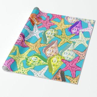 Papel De Presente Seashells e estrelas de mar