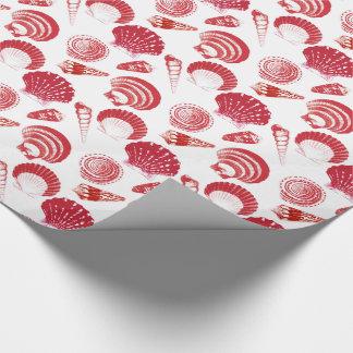 Papel De Presente Seashells - vermelho do cinábrio em um fundo
