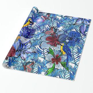 Papel De Presente Selva do azul Aloha & flores exóticas tropicais de