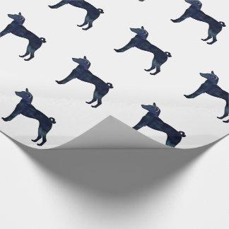 Papel De Presente Silhueta da aguarela do preto do cão de Basenji
