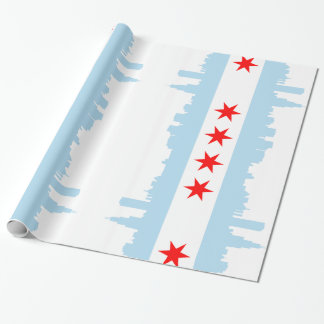 Papel De Presente Skyline da bandeira de Chicago