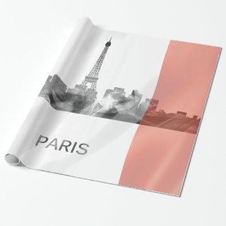 Papel De Presente Skyline de Paris, France com bandeira francesa