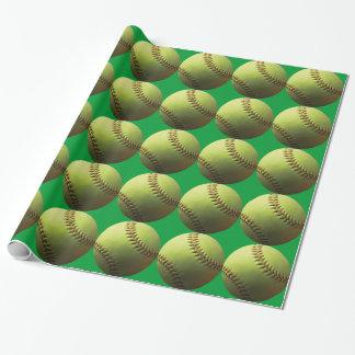 Papel De Presente Softball amarelo