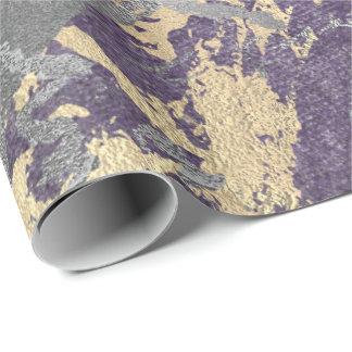 Papel De Presente Sujo metálico brilhante do mármore roxo de prata