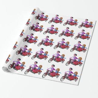 Papel De Presente Super-herói em um Moped com um side-car