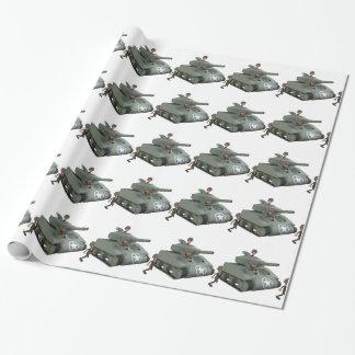 Papel De Presente Tanque e soldados dos desenhos animados que vão