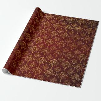 Papel De Presente Tapete vermelho do damasco vermelho dourado chique