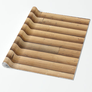 Papel De Presente Tapume da cabana rústica de madeira do falso