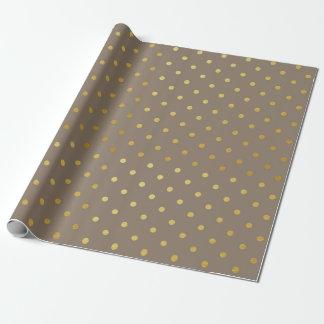 Papel De Presente Taupe moderno Brown das bolinhas da folha de ouro