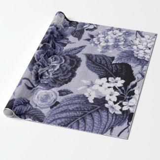 Papel De Presente Tecido floral No.1 de Toile do vintage azul do