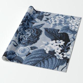 Papel De Presente Tecido floral No.1 de Toile do vintage do azul de