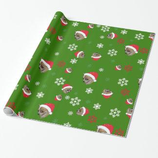 Papel De Presente Teste padrão adorável do Natal da chihuahua