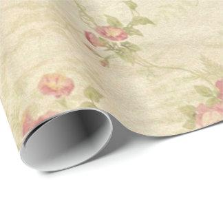 Papel De Presente Teste padrão afligido velho do tecido dos rosas do