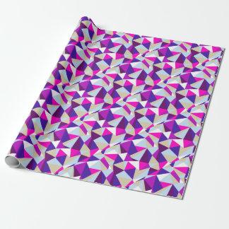Papel De Presente teste padrão azul cor-de-rosa roxo do triângulo